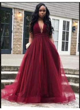 2019 Burgundy Halter Beaded A-line Tulle Prom Dresses