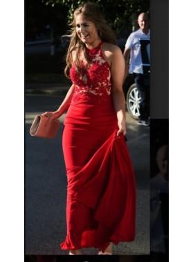 2019 Halter Red Floor Length Chiffon Prom Dresses
