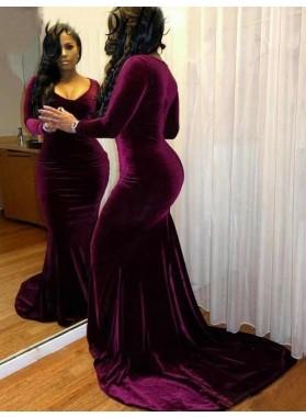 2019 Long Sleeve V-neck Mermaid Prom Dresses