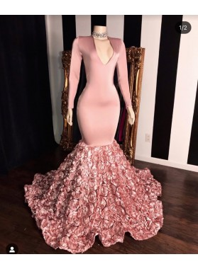 2020 Long Sleeve Dusty Rose V-neck Mermaid Prom Dresses