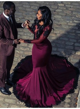 2020 Long Sleeves Burgundy Applique Satin Mermaid Prom Dresses