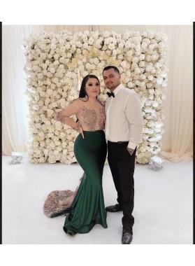 2021 Long Sleeve Dark Green Mermaid Prom Dresses