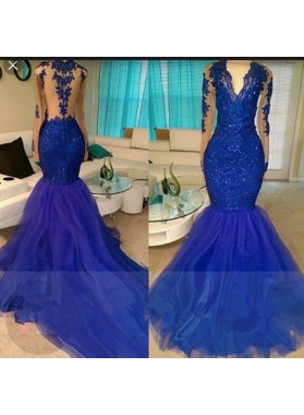 2019 Long Sleeve Royal Blue V-neck Tulle Mermaid Prom Dresses