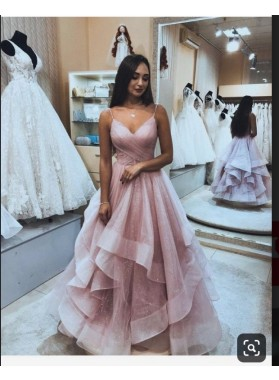 2019 Dusty Rose A-line Layer V-neck Prom Dresses