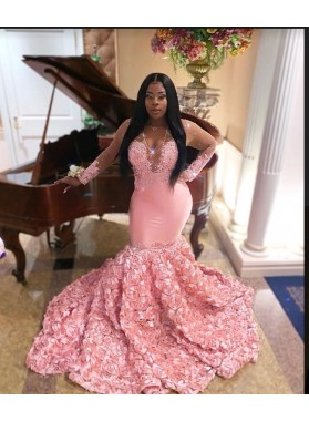 2021 V Neck Long Sleeve Pink Mermaid Prom Dresses