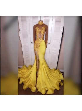 2019 Junoesque Yellow Split Mermaid/Trumpet Long Sleeve Satin Prom Dresses