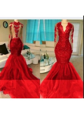 2020 Red Appliques Long Sleeve V-neck Prom Dresses