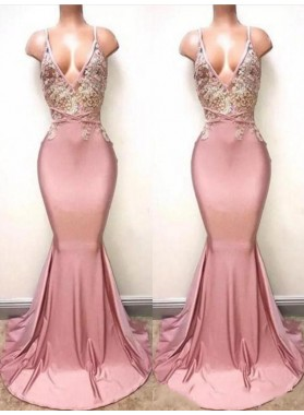 2019 Sexy V-neck Train Mermaid/Trumpet Lace Beaded Prom Dresses