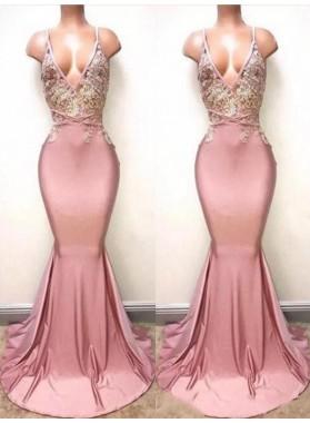 2019 Sexy V-neck Train Mermaid/Trumpet Lace Beaded Prom Dresses