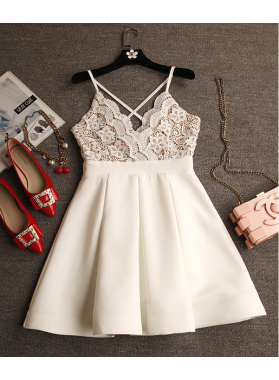 A-Line V-Neck Criss-Cross Straps Short Ivory Homecoming Dress 2019 with Lace