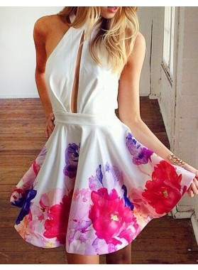 Princess/A-Line Jewel Keyhole Backless Printed White Short Prom Dresses
