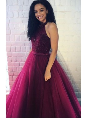 2019 Charming Princess/A-Line Burgundy Tulle Beaded Prom Dresses