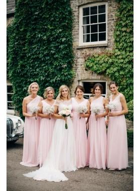 Cheap Chiffon A Line Pearl Pink Long Bridesmaid Dresses