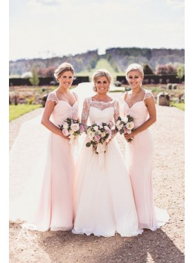 Newly A Line Chiffon Blushing Pink Capped Sleeves Bridesmaid Dresses