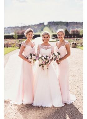 Newly A Line Chiffon Blushing Pink Capped Sleeves Bridesmaid Dresses