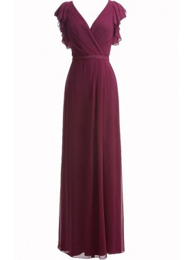 Burgundy A Line Beautiful V Neck Floor Length Chiffon Bridesmaid Gowns / Dresses