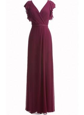Burgundy A Line Beautiful V Neck Floor Length Chiffon Bridesmaid Gowns / Dresses