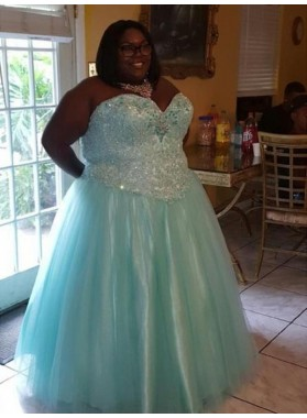 Plus Size Blue A Line Sweetheart Tulle Prom Dresses