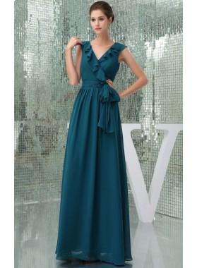 Floor Length Swanky Sash V Neck Dark Green Bridesmaid Gowns / Dresses