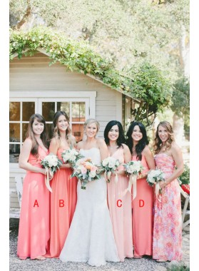 2020 Cheap A Line Chiffon Water Melon Long Bridesmaid Dresses / Gowns