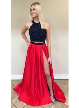 2019 Charming Princess/A-Line Black And Red Two Pieces Satin Prom Dresses