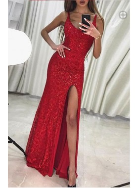 2019 Charming Column/Sheath Red Side Slit Sequence Prom Dresses