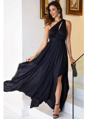 Dark Navy One Shoulder Side Slit Chiffon Prom Dresses Cheap