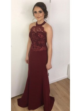 2019 Cheap Column/Sheath Burgundy Halter Satin Prom Dresses