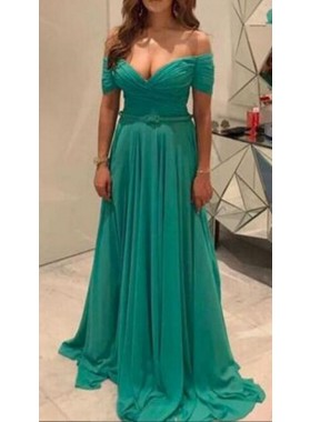 2019 Cheap Chiffon Princess/A-Line Sweetheart Off The Shoulder Jade Prom Dresses