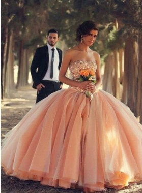 Strapless Beading Natural Floor-Length/Long Ball Gown Tulle Prom Dresses