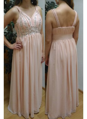 Natural Straps Beading Floor-Length/Long Chiffon Prom Dresses