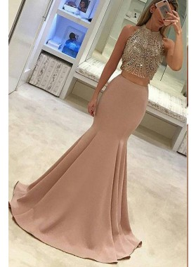 Sweep Train Beading Natural Two Pieces Mermaid/Trumpet Nude Prom Dresses
