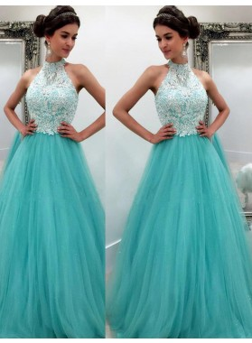 LadyPromDress 2020 Blue High Neck Appliques Floor-Length/Long A-Line/Princess Tulle Prom Dresses