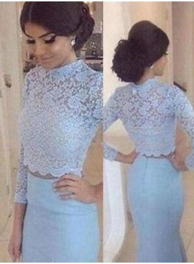 Mermaid/Trumpet Natural Waist Zipper Long Sleeve Lace Prom Dresses