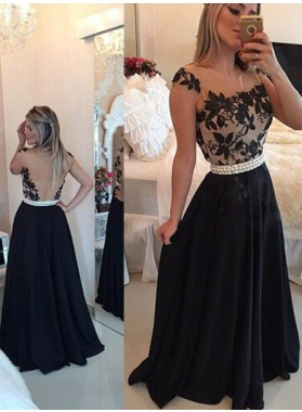 2019 Junoesque Black Appliques Square Neck A-Line/Princess Satin Prom Dresses
