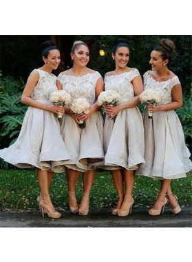 2021 Champagne Off The Shoulder Lace Short Bridesmaid Dresses
