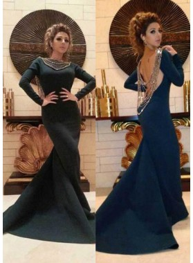 2018 Junoesque Black Beading Backless Sweep Train Mermaid/Trumpet Prom Dresses