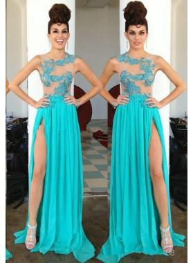 LadyPromDress 2019 Blue Appliques Sleeveless Column/Sheath Chiffon Prom Dresses