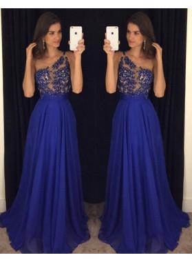 LadyPromDress 2019 Blue One Shoulder Floor-Length/Long A-Line/Princess Chiffon Prom Dresses