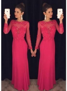 Appliques Long Sleeve Column/Sheath Chiffon Prom Dresses