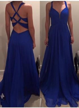 LadyPromDress 2019 Blue Straps Bandage A-Line/Princess Chiffon Prom Dresses