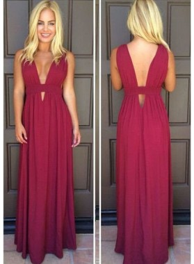 V-Neck Floor-Length/Long Column/Sheath Chiffon Prom Dresses