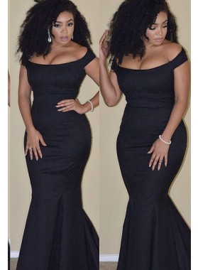 2019 Junoesque Black Ruching Off-the-Shoulder Mermaid/Trumpet Satin Prom Dresses