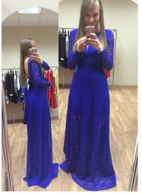 Royal Blue Backless Long Sleeve Column/Sheath Lace Prom Dresses