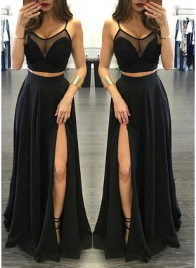 2020 Junoesque Black Illusion Spaghetti Straps Side-Slit Two Pieces Prom Dresses