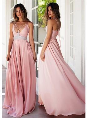 Spaghetti Straps A-Line/Princess Chiffon 2019 Glamorous Pink Prom Dresses