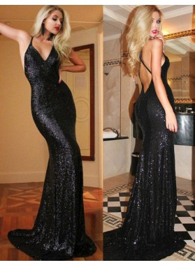 2020 Junoesque Black Hot Sequined Backless Mermaid/Trumpet Prom Dresses