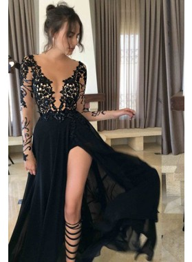 2021 Junoesque Black Sexy Split Sheer Sleeves Lace Prom Dresses