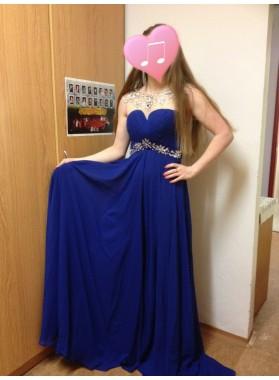 2019 Cheap Princess/A-Line Royal Blue Chiffon Beaded Prom Dresses
