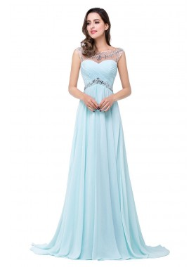 2019 Cheap Princess/A-Line Chiffon Blue Beaded Prom Dresses